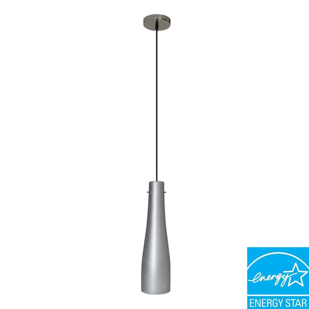 Efficient Lighting Contemporary Series 1-Light Ceiling Mount Pendant Fixture with Silver Glass Shade GU24Energy Star Qualified-DISCONTINUED