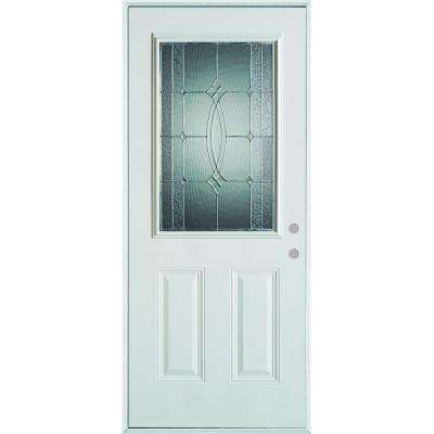 36 in. x 80 in. Diamanti Classic Zinc 1/2 Lite 2-Panel Painted White Steel Prehung Front Door