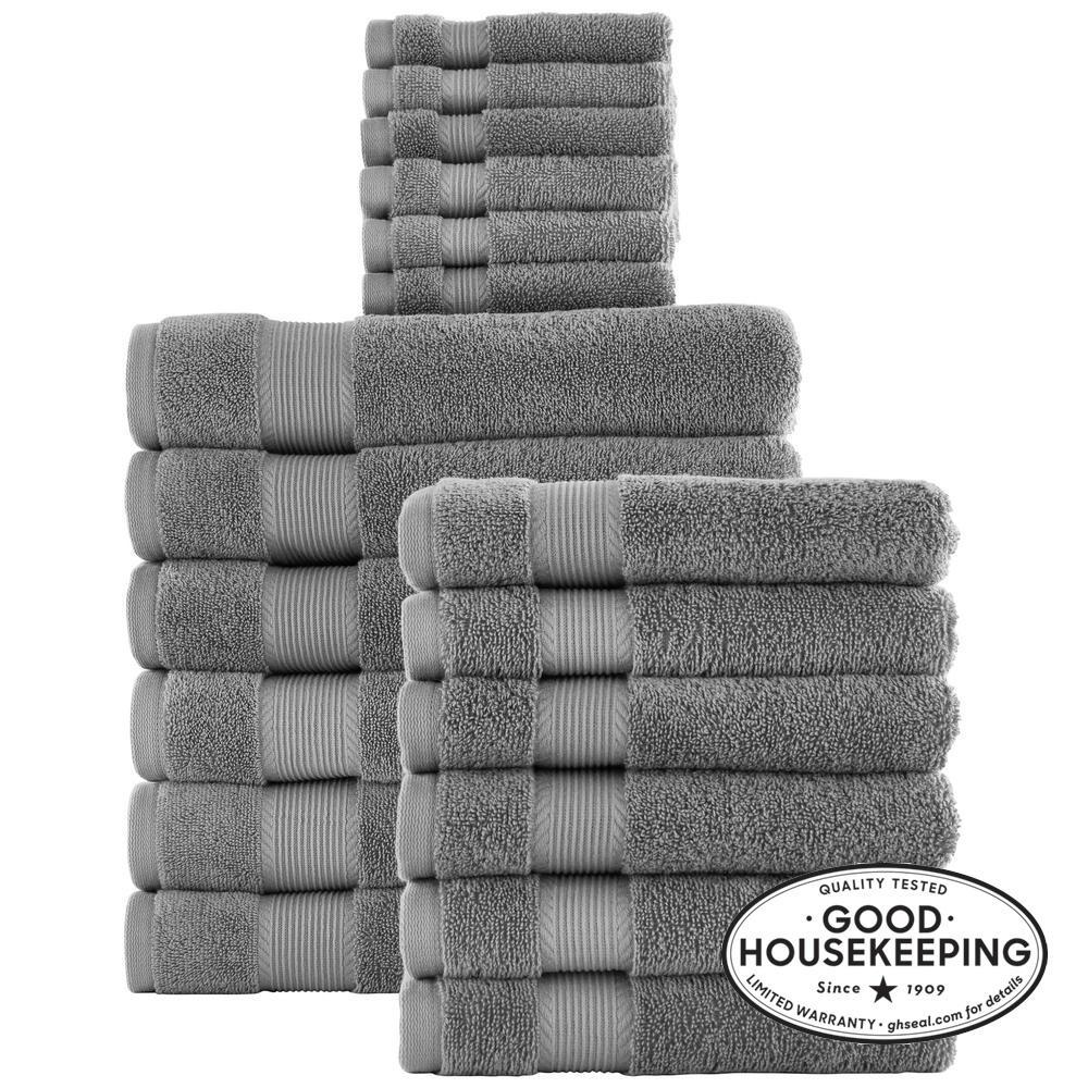 18-Piece Hygrocotton Towel Set in Stone Gray