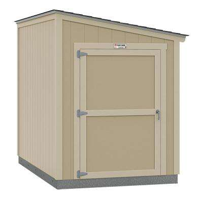 Installed Tahoe Lean-To 6 ft. x 10 ft. x 8 ft. 3 in. Un-Painted Storage Building Shed with Shingles and End Wall Door