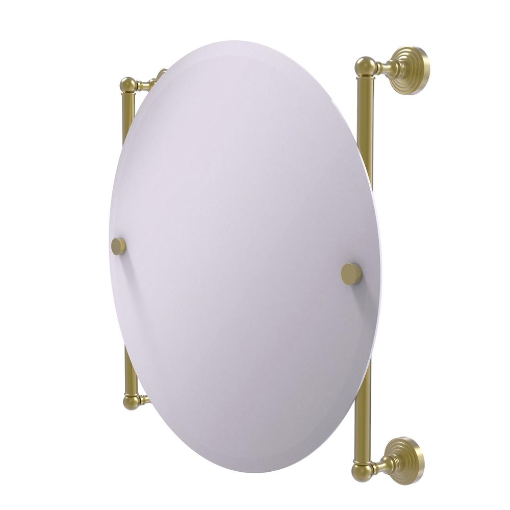 Allied Brass Waverly Place Collection Round Frameless Rail Mounted Mirror in Satin Brass
