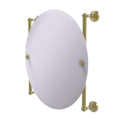 Waverly Place Collection Round Frameless Rail Mounted Mirror in Satin Brass