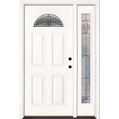 50.5 in. x 81.625 in. Rochester Patina Fan Lite Unfinished Smooth Left-Hand Fiberglass Prehung Front Door with Sidelite