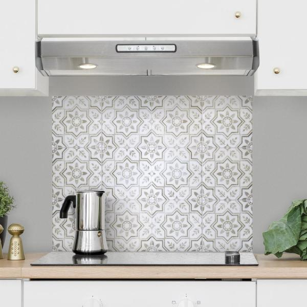 Smart Tiles Kit Kitchen Sicile 22 56 In W X 30 06 In H Gray Peel And Stick Self Adhesive Wall Tile For Cooktop Backsplash 4 Pack Sm7000g 04 Qg The Home Depot