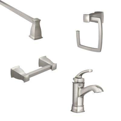 Hensley Single Hole Single-Handle Bathroom Faucet with 3-Piece 24 in. Bath Hardware Set in Spot Resist Brushed Nickel