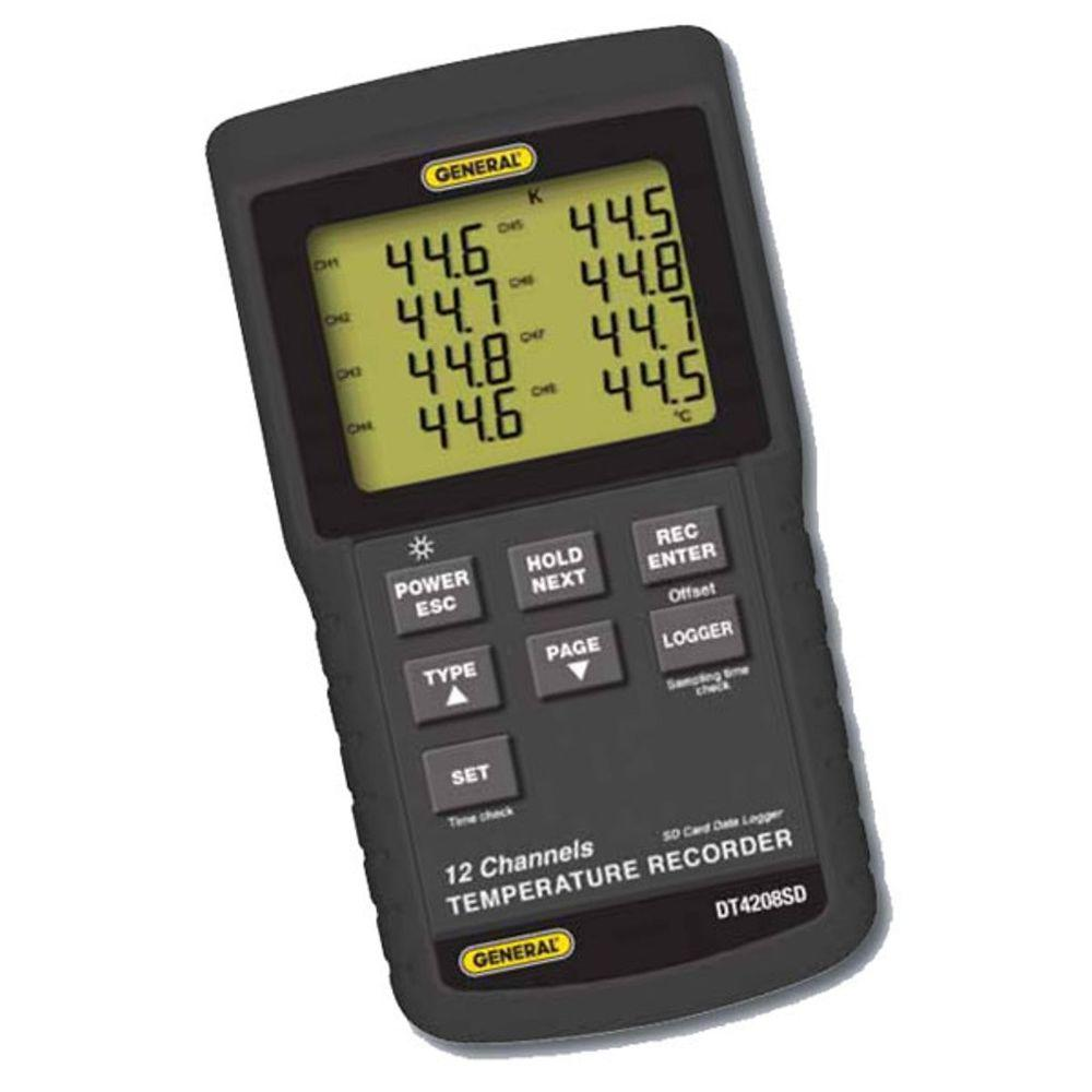 Recording Thermometers Data Logger : General tools channel data logging thermocouple