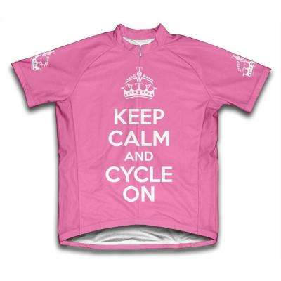 Small Pink Keep Calm and Cycle on Microfiber Short-Sleeved Cycling Jersey
