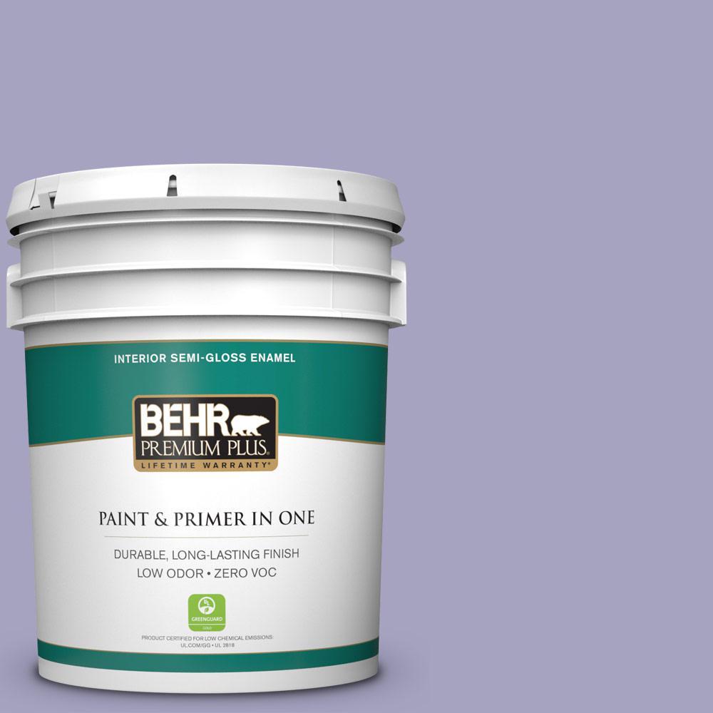 BEHR Premium Plus 5-gal. #640D-4 Canyon Mist Zero VOC Semi-Gloss Enamel Interior Paint