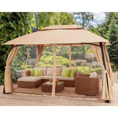 Renaissance 10 ft. x 13 ft. Beige Gazebo with Mosquito Netting and Privacy Curtain