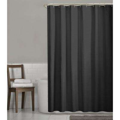 Luxury Spa Waffle 72 in. x 72 in. Fabric Shower Curtain in Black