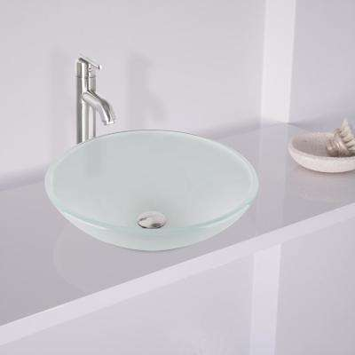 Glass Vessel Sink in White Frost with Faucet Set in Brushed Nickel