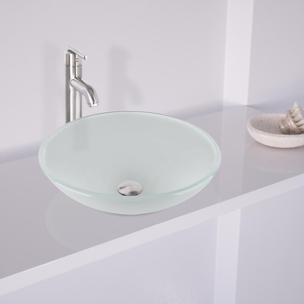 Delicieux VIGO Glass Vessel Sink In White Frost With Faucet Set In Brushed Nickel