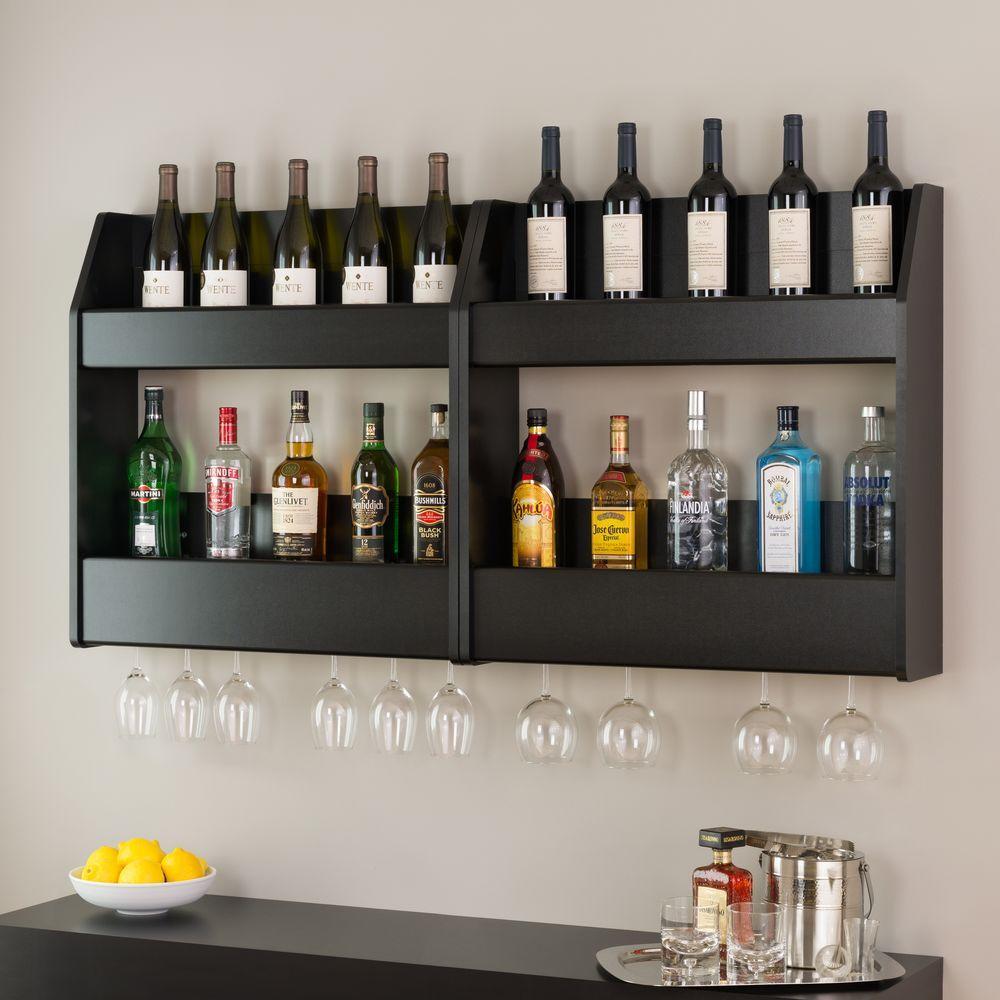 Black 2-Shelf Composite-Wood Floating Wine and Liquor Rack