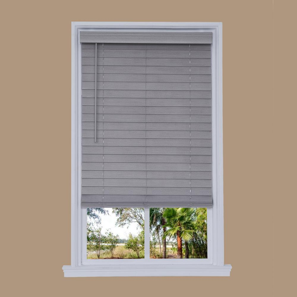 Cut-to-Width Steel Gray Cordless 2.5 in. Distressed Faux Wood Blind -