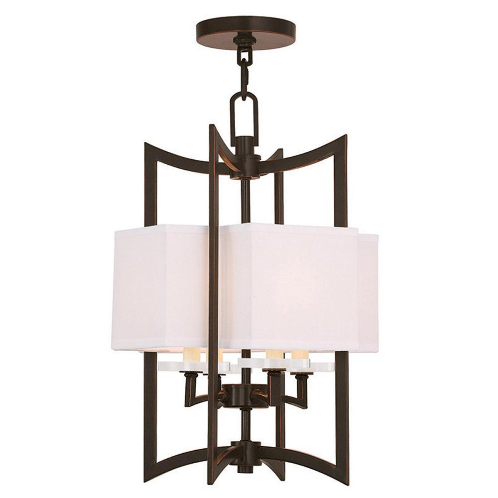 Livex Lighting Woodland 4-Light Olde Bronze Chandelier with Hand Crafted Off-White Fabric Hardback Shade