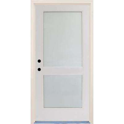 36 in. x 80 in. Elite Satin Etch Glass Contemporary 2 Lite Unfinished Fiberglass Prehung Front Door with Brickmould