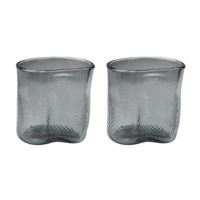 Fish Net 8 in. Glass Decorative Vases in Gray (Set of 2)