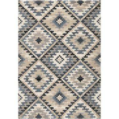 Modern Diamonds Muted Blue 7 ft. 10 in. x 10 ft. 10 in. Area Rug