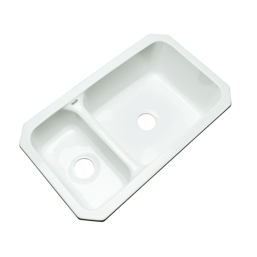 Wyndham Undermount Acrylic 33 in. Double Bowl Kitchen Sink in White