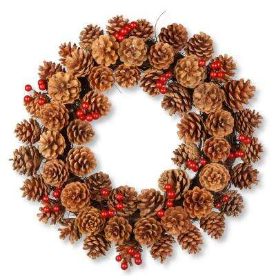 20 in. Cones and Berry Wreath