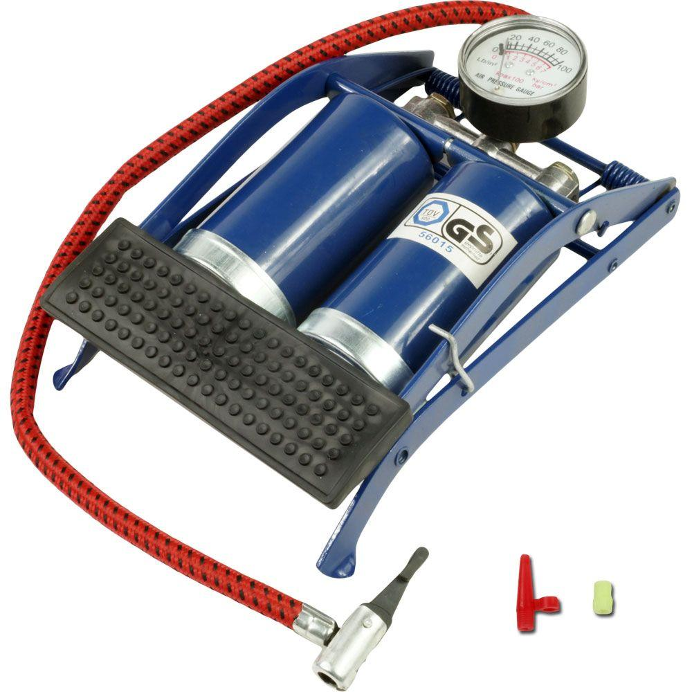 Stalwart Double Cylinder Foot Pump with Gauge
