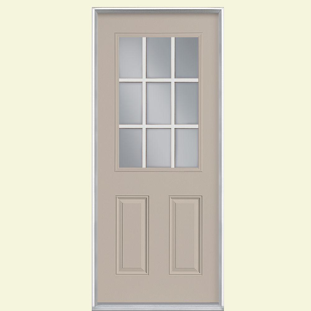 Masonite 36 in. x 80 in. 9 Lite Canyon View Left Hand Inswing Painted Smooth Fiberglass Prehung Front Door, Vinyl Frame