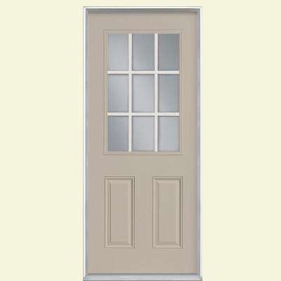 36 in. x 80 in. 9 Lite Canyon View Left Hand Inswing Painted Smooth Fiberglass Prehung Front Door, Vinyl Frame