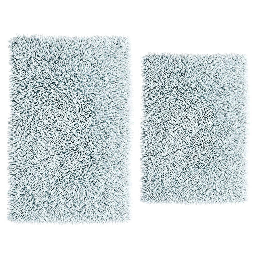 Light Blue 17 In. X 24 In. And 24 In. X 40 In. Chenille Shaggy Bath Rug Set (2 Piece)