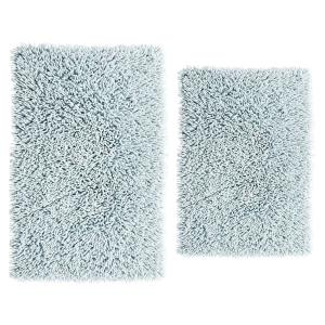 Chenille Shaggy Light Blue 21 in. x 34 in. and 24 in. x 40 in. Bath Rug Set (2-Piece)