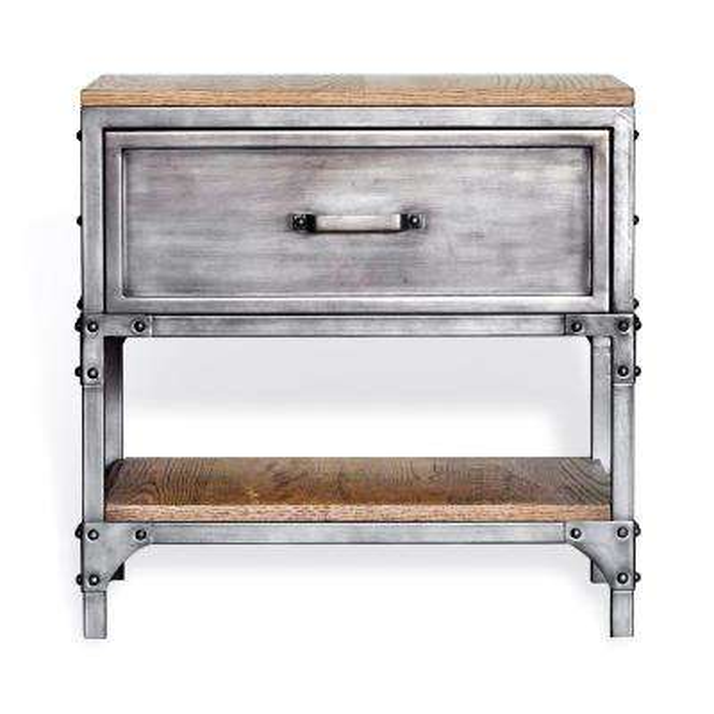 Jaxon Antiqued Steel Side Table