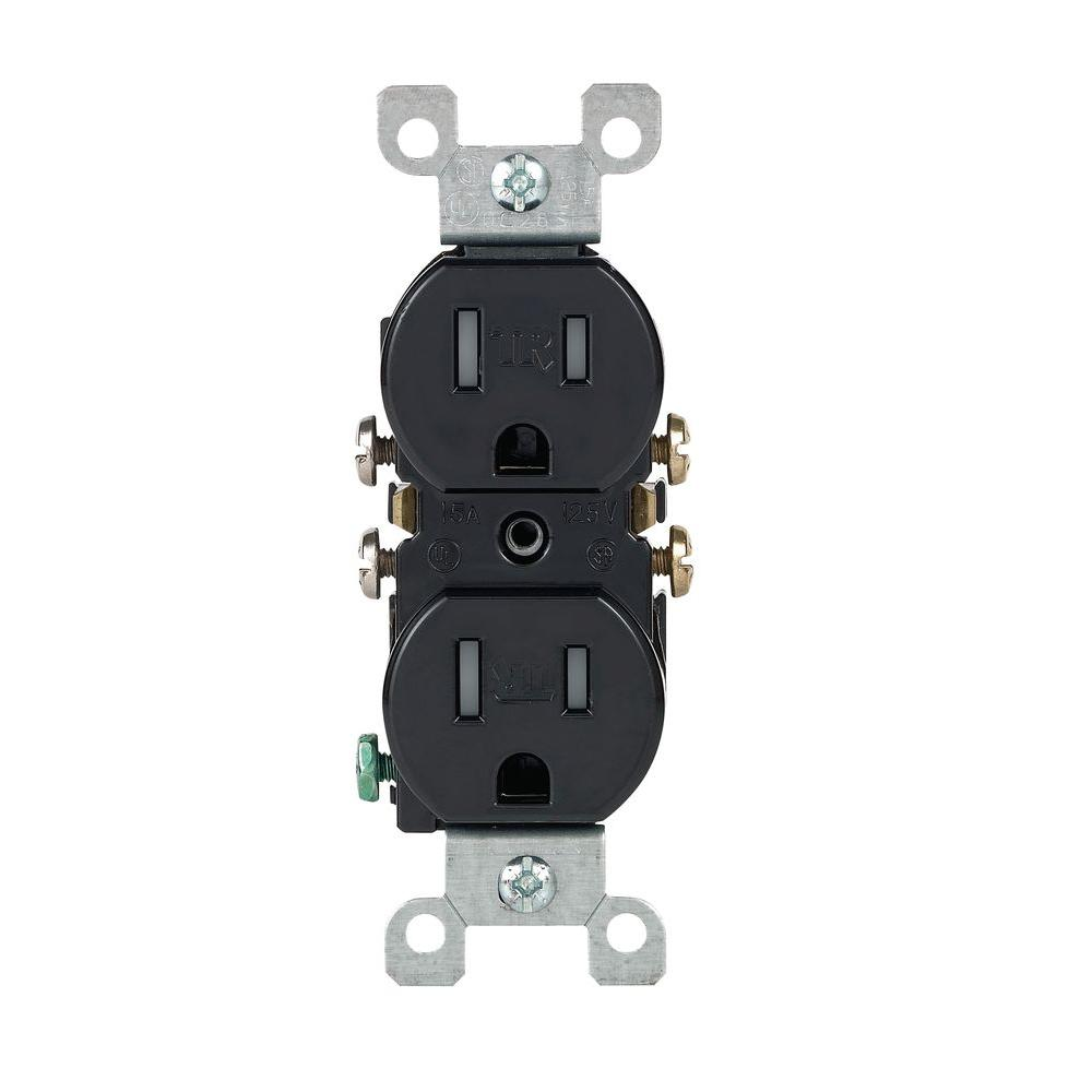 Leviton 15 Amp Tamper Resistant Duplex Outlet Light Almond 10 Pack Wiring Receptacle Switch Black