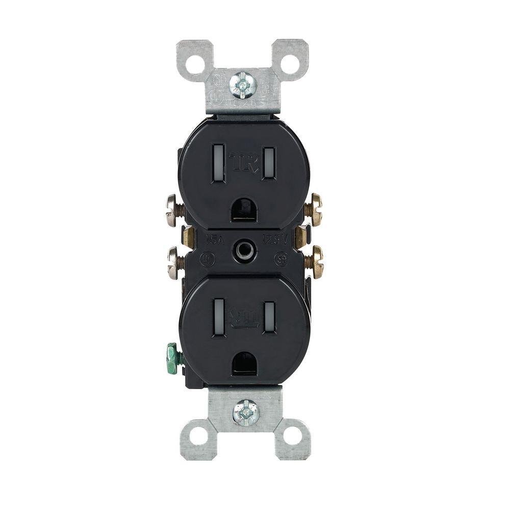 15 Amp Tamper Resistant Duplex Outlet, Black