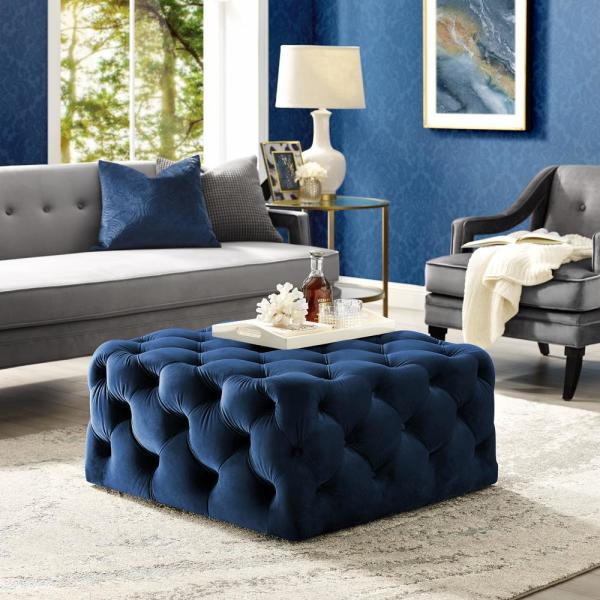 Coffee Table Ottoman.Lester Cocktail Table Ottoman Navy Velvet Tufted Allover Square Caster Leg
