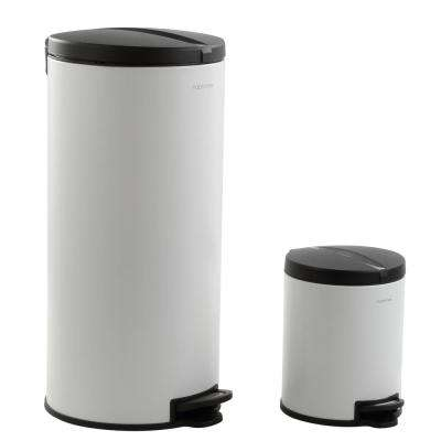 Oscar Round 8 Gal. White/Black Step-Open Trash Can with Free Mini Trash Can