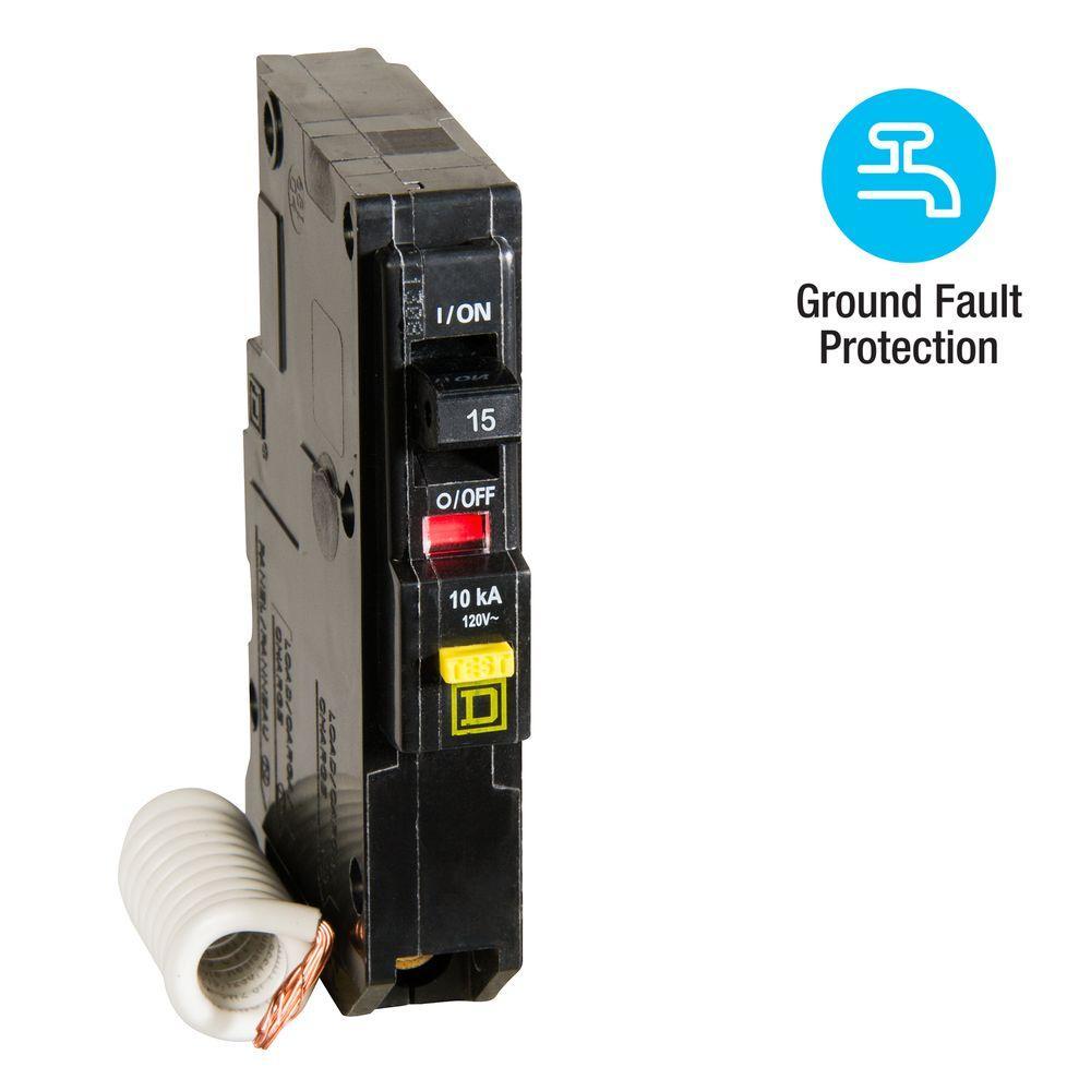 Square D QO Qwik-Gard 15 Amp Single-Pole GFCI Circuit Breaker
