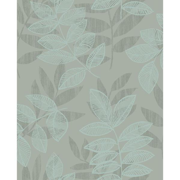 A-Street 8 in. x 10 in. Chimera Turquoise Flocked Leaf Wallpaper