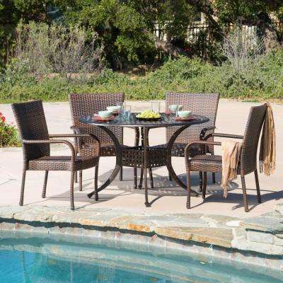 Littleton Bronze and Brown 5-Piece Wicker and Aluminum Outdoor Dining Set