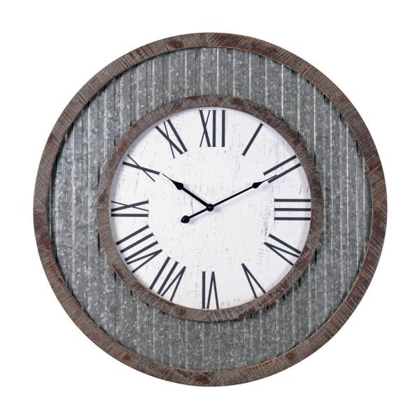 Wes 30 in. Galvanized Metal and Distressed Wood Finish Wall Clock