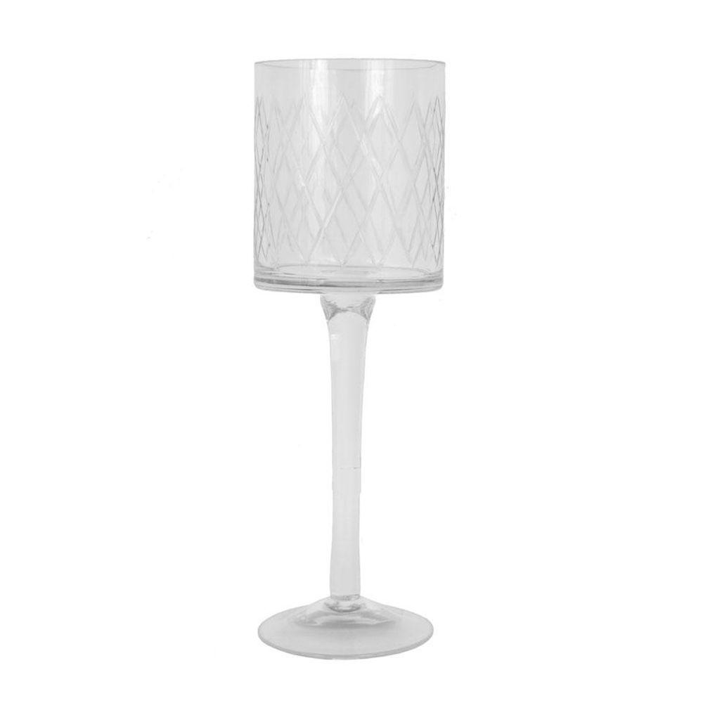 Home Decorators Collection 13.5 in. H Cut Glass Clear Candle Holders