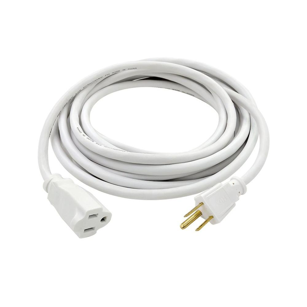 HDX 15 ft. 16/3 White Outdoor Extension Cord-AW64002 - The Home Depot