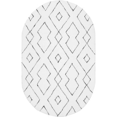Beaulah Modern Geometric Shag White 5 ft. x 8 ft. Oval Rug