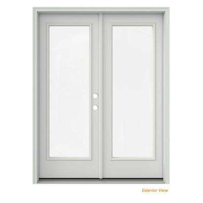 60 in. x 80 in. Primed Steel Left-Hand Inswing Full Lite Glass Active/Stationary Patio Door