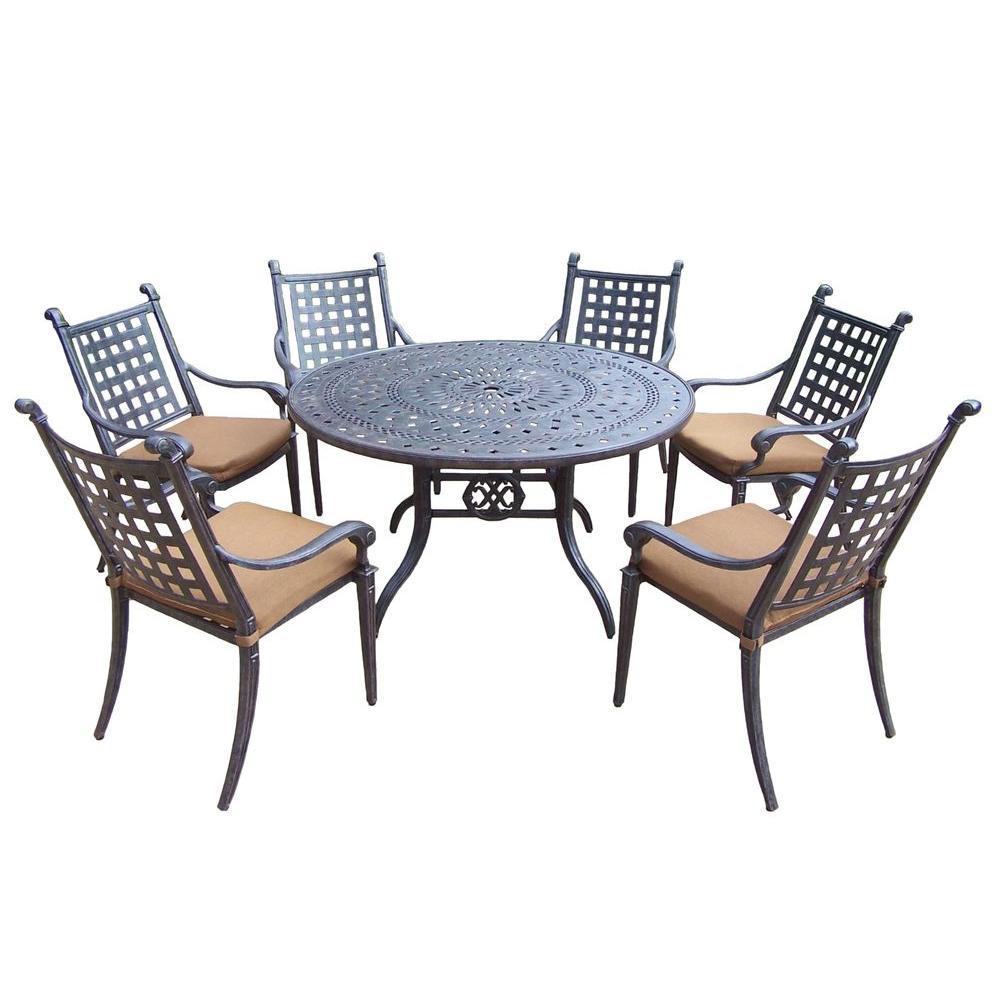 Cast Aluminum 7-Piece Round Patio Dining Set with Sunbrella Cushions