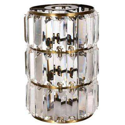 9-7/8 in. Crystal Prism and Brushed Nickel Cylinder Shade with 2-1/4 in. Fitter and 7 in. Width