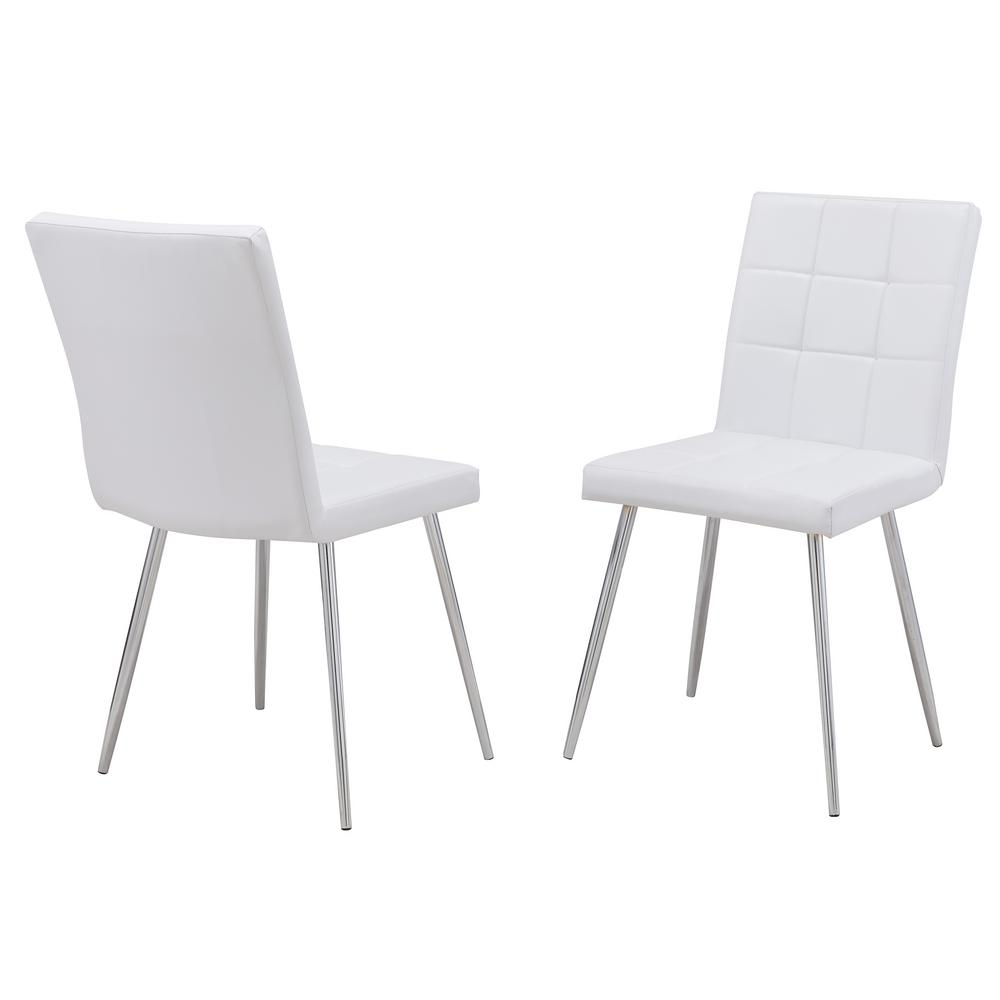 Carolina Cottage Jaxon White Leatherette Upholstered Dining Chair Set Of 2