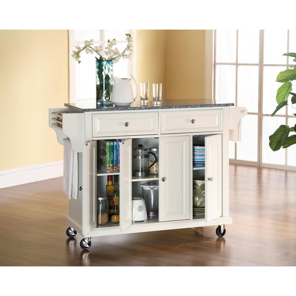 Crosley White Kitchen Cart With Granite Top