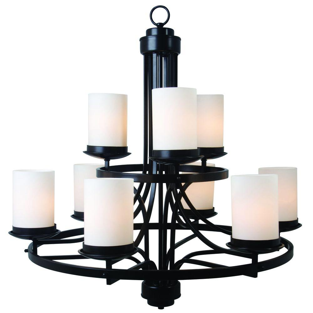 Yosemite Home Decor Columbia Rock 9-Light Oil Rubbed Bronze Hanging Chandelier with White Glass Shade