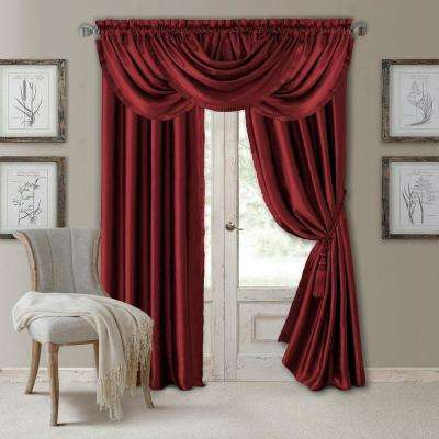Elrene Versailles 52 in. W x 95 in. L Polyester Single Blackout Window Curtain Panel in Rouge