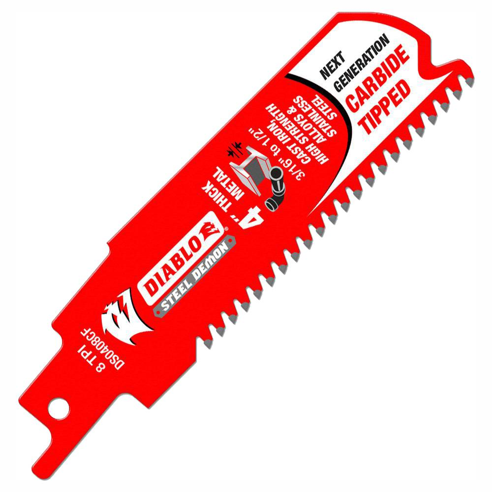 Diablo 4 in. 8 tpi Steel Demon Carbide-Tipped Thick Metal Cutting Reciprocating Saw Blade
