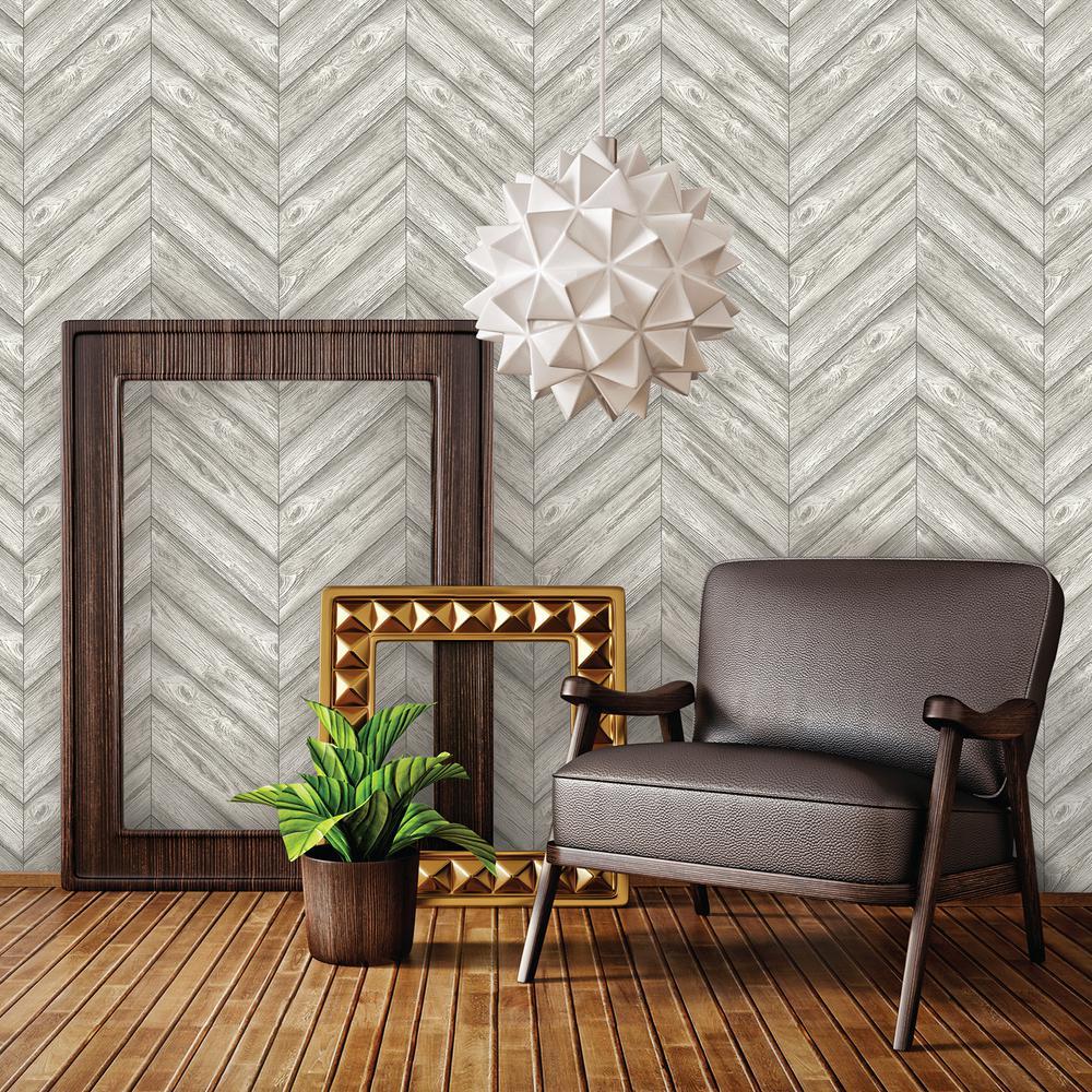 Tempaper Ash Herringbone WallpaperHE500 The Home Depot